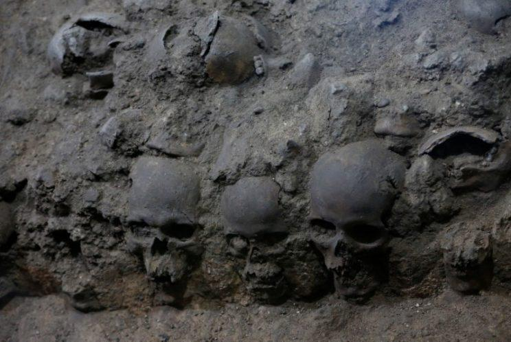 The skulls were found near a temple for the god of human sacrifice (Reuters)