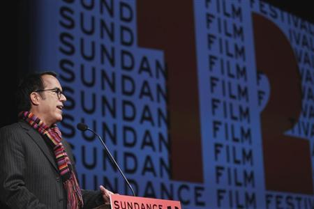 "Sundance Film Festival director John Cooper welcomes the audience before the opening night premiere of the documentary ""The Queen Of Versailles"" to begin the annual festival in Park City, Utah"