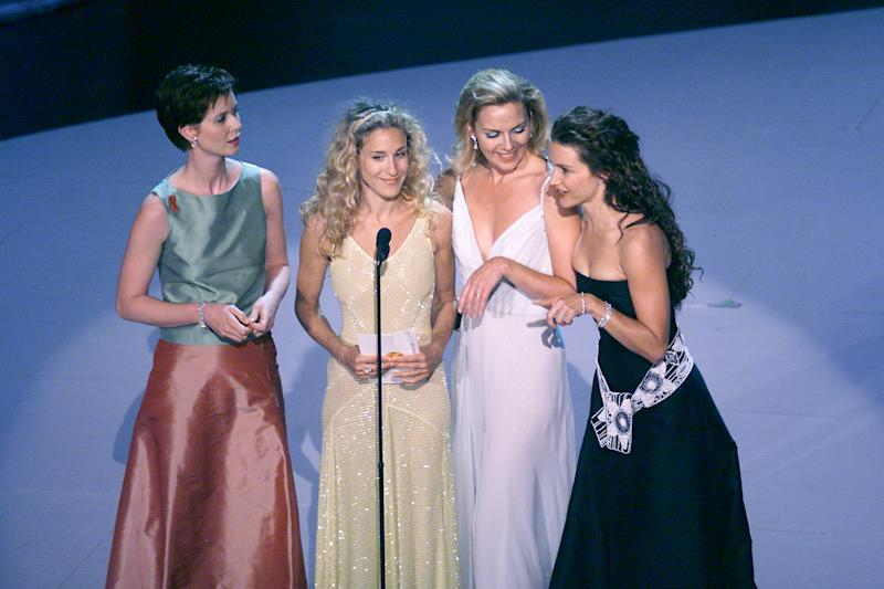 Cynthia Nixon, Sarah Jessica Parker, Kim Cattrall, and Kristin Davis of 'Sex in the City' at the 1999 Emmy Awards held in Los Angeles, CA 9/13/99 Photo by Frank Micelotta/Getty Images