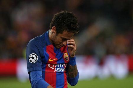 Barcelona's Neymar looks dejected after the match