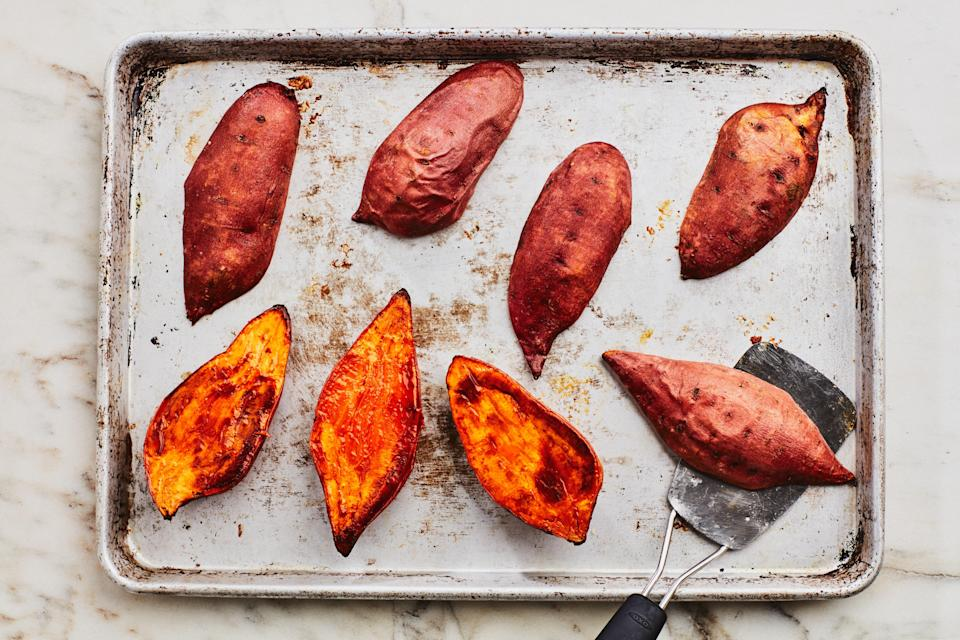 Roasted Halved Sweet Potatoes