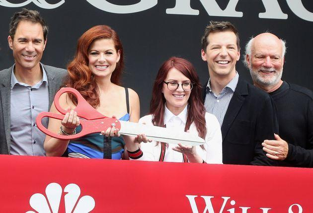 The cast of Will & Grace with James Burrows (Photo: Bruce Glikas via Getty Images)