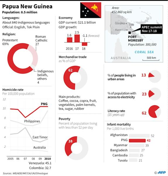 Graphic charting social indicators for Papua New Guinea, venue for the APEC summit