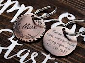 """<p><strong>MarrieGifts</strong></p><p>etsy.com</p><p><strong>$12.50</strong></p><p><a href=""""https://go.redirectingat.com?id=74968X1596630&url=https%3A%2F%2Fwww.etsy.com%2Flisting%2F873267457%2Fdog-tag-for-pet-gift-dog-collar-tag&sref=https%3A%2F%2Fwww.bestproducts.com%2Flifestyle%2Fg27420749%2Fengraved-gifts%2F"""" rel=""""nofollow noopener"""" target=""""_blank"""" data-ylk=""""slk:Shop Now"""" class=""""link rapid-noclick-resp"""">Shop Now</a></p><p>Pets deserve a little bit of bling, too. <a href=""""https://www.bestproducts.com/tech/gadgets/g1169/gps-pet-trackers/"""" rel=""""nofollow noopener"""" target=""""_blank"""" data-ylk=""""slk:Pets and their owners"""" class=""""link rapid-noclick-resp"""">Pets and their owners</a> will love this customizable collar tag with their furry friend's name on the front and contact information on the back. </p><p>You can choose from 32 different designs around the name, like leaves or mountains, and the back can be engraved with one of four messages and a phone number.</p>"""