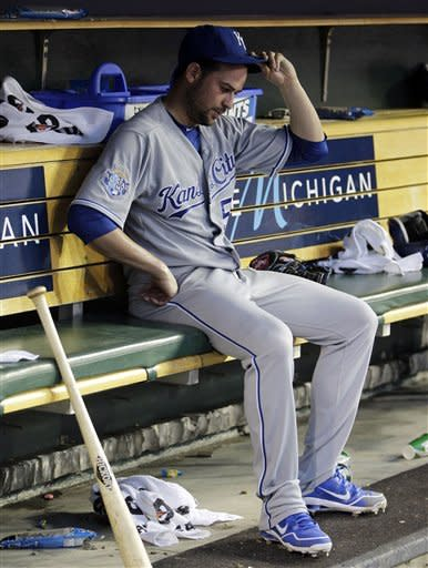 Kansas City Royals starting pitcher Jonathan Sanchez sits in the dugout after being pulled during the sixth inning of a baseball game against the Detroit Tigers in Detroit, Friday, July 6, 2012. (AP Photo/Carlos Osorio)