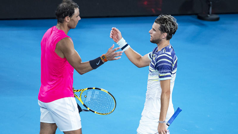 Rafael Nadal and Dominic Thiem, pictured here embracing after their Australian Open tussle.
