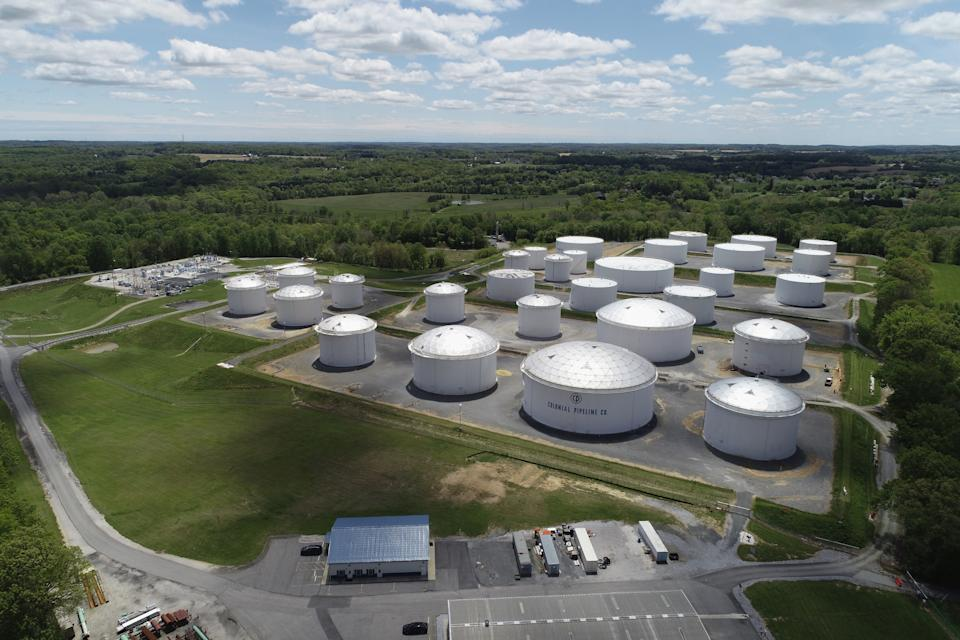 Holding tanks are seen in an aerial photograph at Colonial Pipeline's Dorsey Junction Station in Woodbine, Maryland, U.S. May 10, 2021. (Drone Base/Reuters)