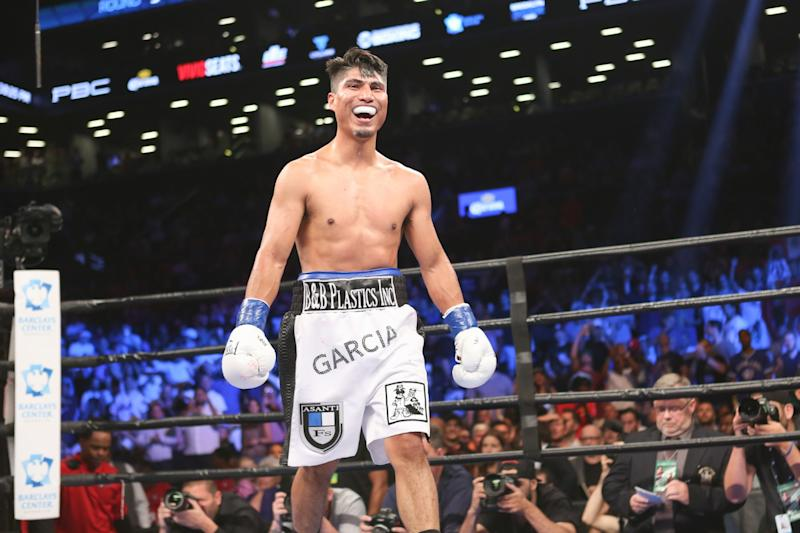 Mikey Garcia reacts after he wins his fight against Elio Rojas at the Barclays Center in the Brooklyn borough of New York on Saturday, July 30, 2016. Mikey Garcia won via knockout.