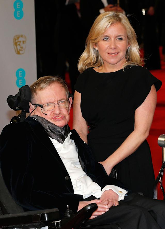 <p>Theoretical physicist Stephen Hawking and his daughter Lucy arrive at the British Academy of Film and Arts (BAFTA) awards ceremony at the Royal Opera House in London, Britain, Feb. 8, 2015. (Photo: Suzanne Plunkett/Reuters) </p>
