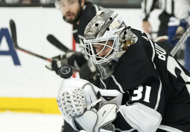 Los Angeles Kings goaltender Peter Budaj, of Slovakia, stops a shot during the first period of an NHL game against the Toronto Maple Leafs Tuesday, Nov. 13, 2018, in Los Angeles. (AP Photo/Mark J. Terrill)