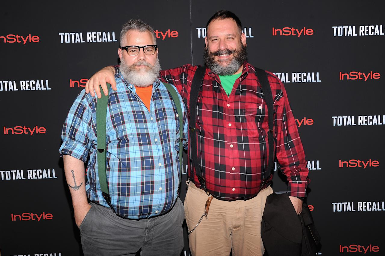 """NEW YORK, NY - AUGUST 02:  (L-R) Designers Jeffrey Costello and Robert Tagliapietra attend the """"Total Recall"""" New York Premiere at Chelsea Clearview Cinemas on August 2, 2012 in New York, United States.  (Photo by Jamie McCarthy/Getty Images)"""