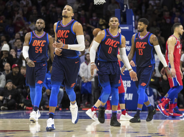 "<a class=""link rapid-noclick-resp"" href=""/nba/teams/okc/"" data-ylk=""slk:Oklahoma City Thunder"">Oklahoma City Thunder</a>'s <a class=""link rapid-noclick-resp"" href=""/nba/players/5196/"" data-ylk=""slk:Andre Roberson"">Andre Roberson</a>, center left, is one of the team's top defensive players. (AP Photo/Chris Szagola)"