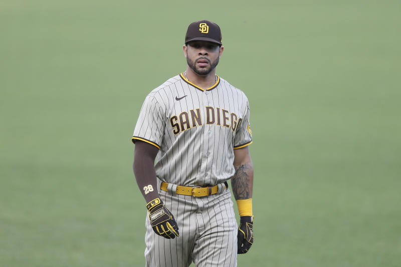 SAN FRANCISCO, CALIFORNIA - SEPTEMBER 26: Tommy Pham #28 of the San Diego Padres looks on before the game against the San Francisco Giants at Oracle Park on September 26, 2020 in San Francisco, California. (Photo by Lachlan Cunningham/Getty Images)