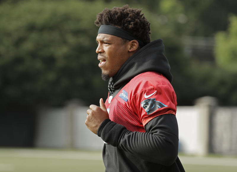 Carolina Panthers Cam Newton wasn't happy with some kids at a football camp. (AP)