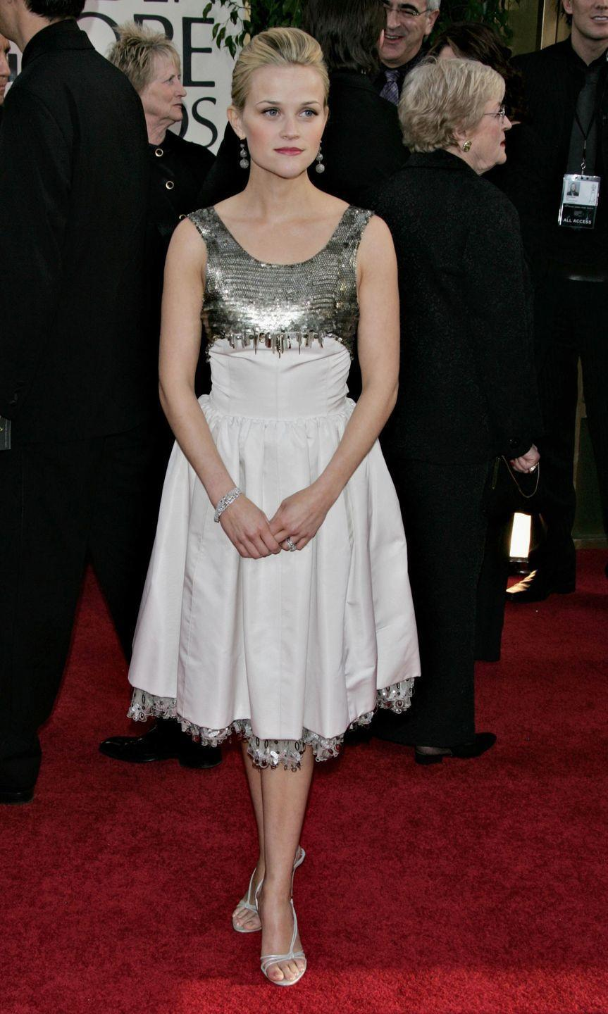 <p>A Chanel frock with a futuristic feel was the call for the 2006 Golden Globes. </p>