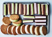 """Use one flavor (like pistachio) for this ice cream cookie sandwiches recipe, or mix it up: Each pint will yield enough ice cream for three sandwiches. <a href=""""https://www.epicurious.com/recipes/food/views/oatmeal-ice-cream-cookie-sandwiches?mbid=synd_yahoo_rss"""" rel=""""nofollow noopener"""" target=""""_blank"""" data-ylk=""""slk:See recipe."""" class=""""link rapid-noclick-resp"""">See recipe.</a>"""