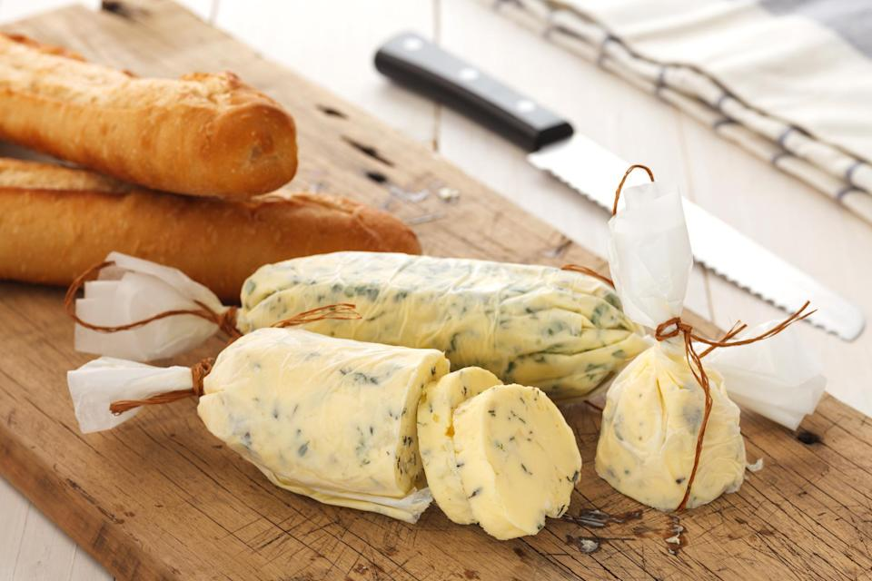 """<p>If butter is more your style, you can also mash together herbs, a sprinkling of sea salt and some softened butter, roll it into a log, wrap it in parchment paper and store it in the freezer. Cooking with tons of butter is one of those <a href=""""https://www.thedailymeal.com/cook/reasons-grandma-was-best-cook?referrer=yahoo&category=beauty_food&include_utm=1&utm_medium=referral&utm_source=yahoo&utm_campaign=feed"""" rel=""""nofollow noopener"""" target=""""_blank"""" data-ylk=""""slk:reasons grandma's food was better than yours"""" class=""""link rapid-noclick-resp"""">reasons grandma's food was better than yours</a> so use this compound butter to baste meat or vegetables toward the end of cooking.</p>"""