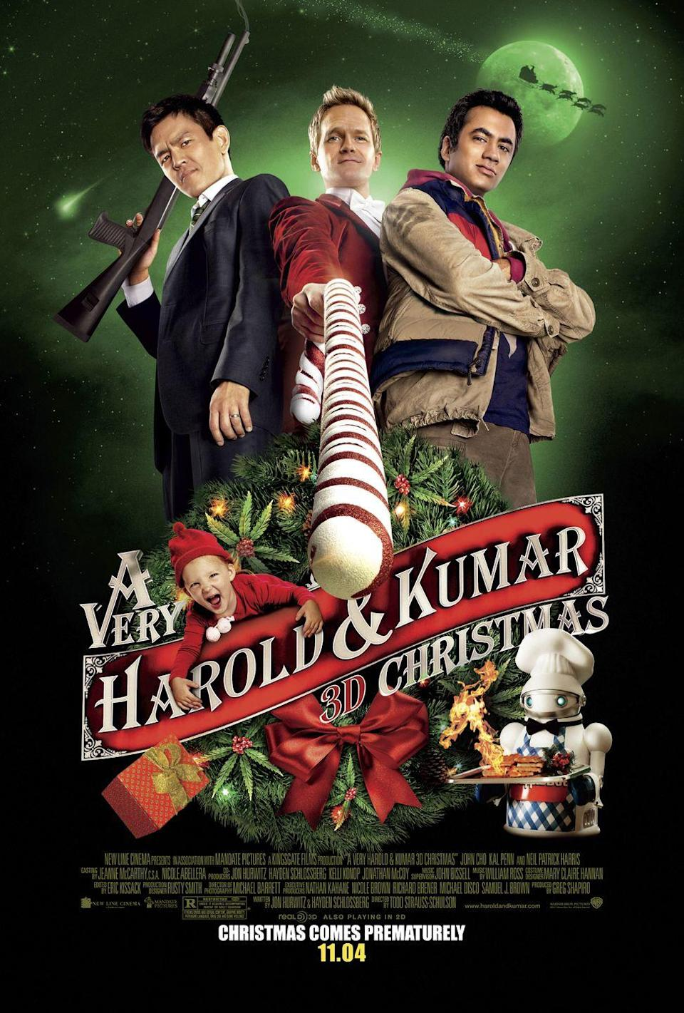 """<p>Looking for something to watch after the little ones go to bed? You'll love this hilarious holiday comedy, which is the third installment of the <em><em>Harold & Kumar </em></em>series<em><em>.</em></em></p><p><a class=""""link rapid-noclick-resp"""" href=""""https://www.amazon.com/Very-Harold-Kumar-Christmas/dp/B006PPW98U?tag=syn-yahoo-20&ascsubtag=%5Bartid%7C10055.g.1315%5Bsrc%7Cyahoo-us"""" rel=""""nofollow noopener"""" target=""""_blank"""" data-ylk=""""slk:WATCH NOW"""">WATCH NOW</a></p><p><strong>RELATED:</strong> <a href=""""https://www.goodhousekeeping.com/holidays/christmas-ideas/g30200011/funny-christmas-movies/"""" rel=""""nofollow noopener"""" target=""""_blank"""" data-ylk=""""slk:30+ Funny Christmas Movies That'll Make You Laugh Harder Than Santa"""" class=""""link rapid-noclick-resp"""">30+ Funny Christmas Movies That'll Make You Laugh Harder Than Santa</a></p>"""