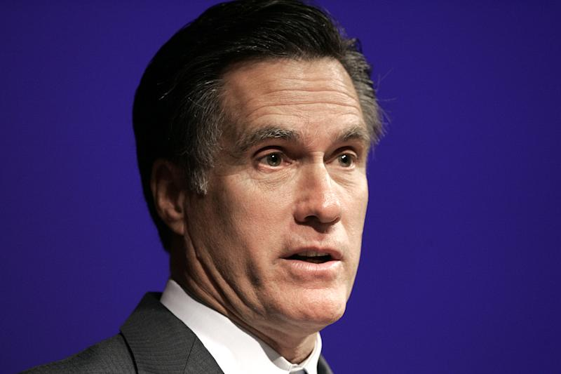 FILE -- In an Oct. 10, 2006 file photo Mitt Romney speaks at the Leadership Summit on Race in Detroit.   For nearly 15 years, Republican presidential candidate Mitt Romney's financial portfolio has included an offshore company that remained invisible to voters.  (AP Photo/Paul Sancya/file)