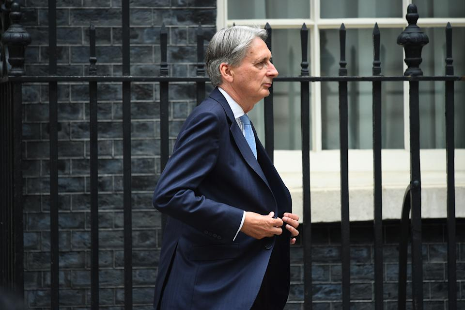 Former chancellor of the exchequer Philip Hammond in Downing Street in central London.