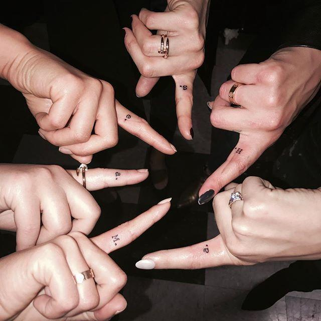 "<p>When <em>Pretty Little Liars </em>ended, the stars of the series (Lucy Hale, Shay Mitchell, Janel Parrish, Ashley Benson, Troian Bellisario, and Sasha Pieterse) got matching tattoos on their ""shh"" fingers.</p><p><a href=""https://www.instagram.com/p/BMGWl9bB-hU"" rel=""nofollow noopener"" target=""_blank"" data-ylk=""slk:See the original post on Instagram"" class=""link rapid-noclick-resp"">See the original post on Instagram</a></p>"
