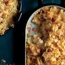"""<p><strong>Recipe: <a href=""""https://www.southernliving.com/syndication/cheesy-potato-casserole"""" rel=""""nofollow noopener"""" target=""""_blank"""" data-ylk=""""slk:Cheesy Potato Casserole"""" class=""""link rapid-noclick-resp"""">Cheesy Potato Casserole</a></strong></p> <p>In the sea of potato casseroles, this one stands out in texture, color, and taste with its speckling of chopped red bell pepper. And who doesn't love a crunchy cornflake topping? </p>"""