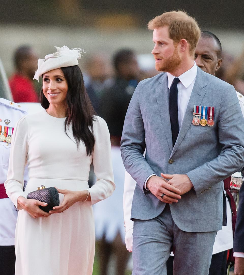 SUVA, FIJI - OCTOBER 23:  Prince Harry, Duke of Sussex and Meghan, Duchess of Sussex attends an official welcome ceremony in the city centre's Albert Park on October 23, 2018 in Suva, Fiji. The Duke and Duchess of Sussex are on their official 16-day Autumn tour visiting cities in Australia, Fiji, Tonga and New Zealand.  (Photo by Samir Hussein/Samir Hussein/WireImage)
