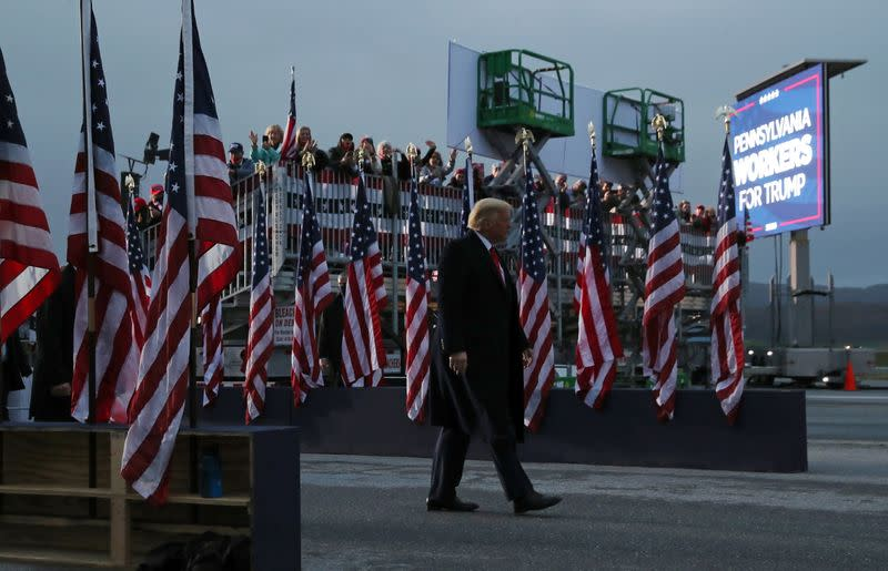 U.S. President Donald Trump holds a campaign event in Martinsburg, Pennsylvania