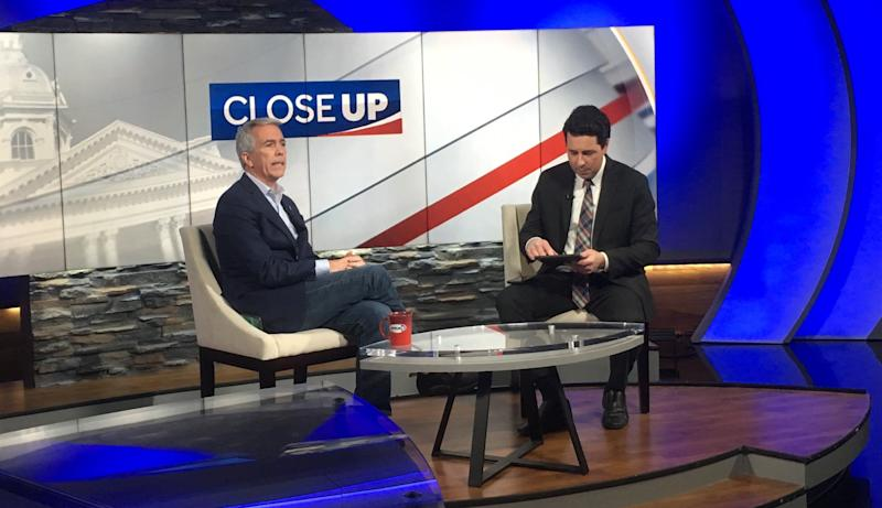 Walsh appears on WMUR's set in Manchester to tape an appearance promoting his Republican primary campaign against President Donald Trump. (Photo: S.V. Date/HuffPost)