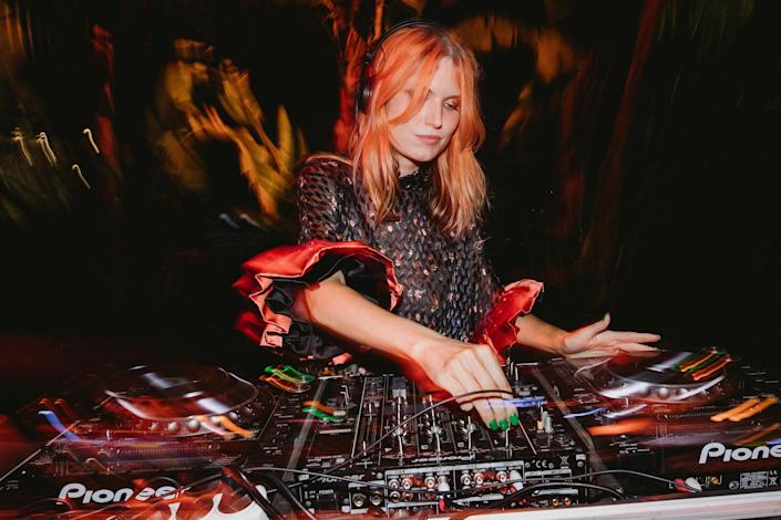 My friend DJ Henri played at the end of the night. She looked gorgeous in her incredible dress from Preen by Thornton Bregazzi, styled by Olivia Buckingham.