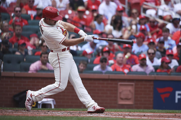 St. Louis Cardinals' Paul DeJong hits a home run during the second inning of a baseball game against the Pittsburgh Pirates Saturday, June 26, 2021, in St. Louis. (AP Photo/Joe Puetz)
