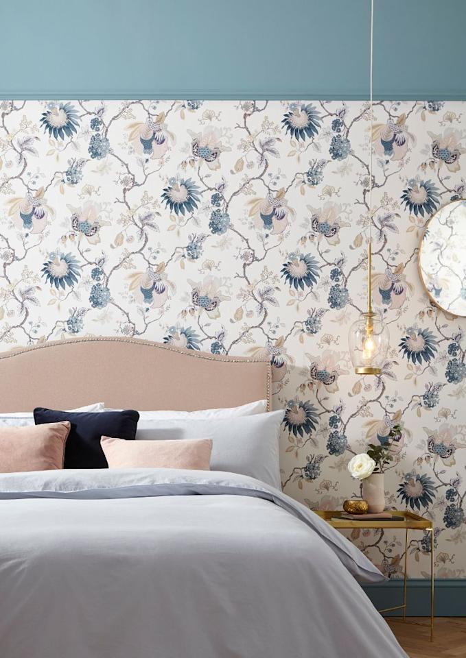 "<p><a class=""body-btn-link"" href=""https://www.grahambrown.com/uk/bordado-dusk-wallpaper/105763-master.html"" target=""_blank"">BUY NOW</a> <em>£60, Graham & Brown</em></p><p>With intricate detailing (Bordado is Spanish for embroidery), the muted palette of this wallpaper creates a soft, liveable design, perfect for a bedroom. Accessorise with blue and pink pastels and metallic accents to bring the scheme together. </p><p>You can shop <a href=""https://www.grahambrown.com/uk/wallpaper/shop-by-room/bedroom/wallpaper/"" target=""_blank"">Graham & Brown's full wallpaper collection for bedrooms here</a>.</p>"