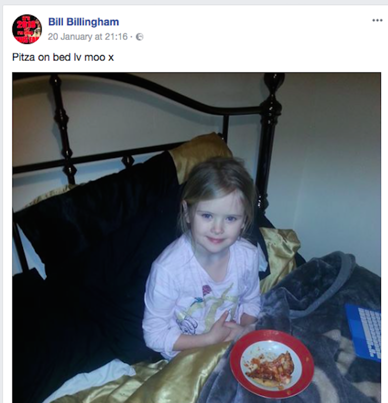 Mylee Billingham's father posted a picture of her on Facebook just minutes before she was stabbed (Picture: Facebook)