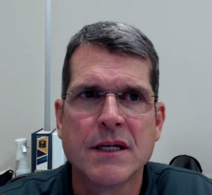Michigan coach Jim Harbaugh on a Zoom call with reporters, Monday, Oct. 19, 2020.