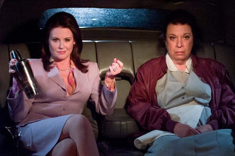 Shelley Morrison (right) pictured here with Megan Mullally as Karen Walker, was best-known for playing feisty maid Rosario Salazar on Will & Grace: NBCU Photo Bank/NBCUniversal via
