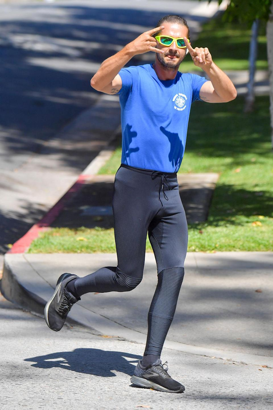 <p>Shia LaBeouf was spotted on a jog in Los Angeles.</p>