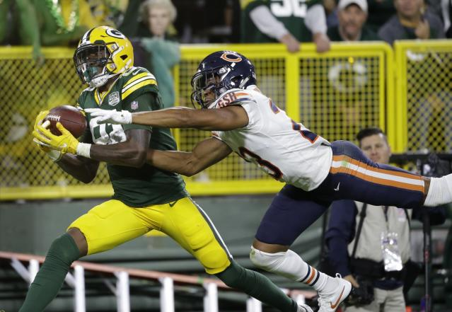 Geronimo Allison got the comeback started for Green Bay, cooking Kyle Fuller for a long TD. He's seeing plenty of targets in a great offense, which makes him a pickup of interest to fantasy players. (AP Photo/Jeffrey Phelps)