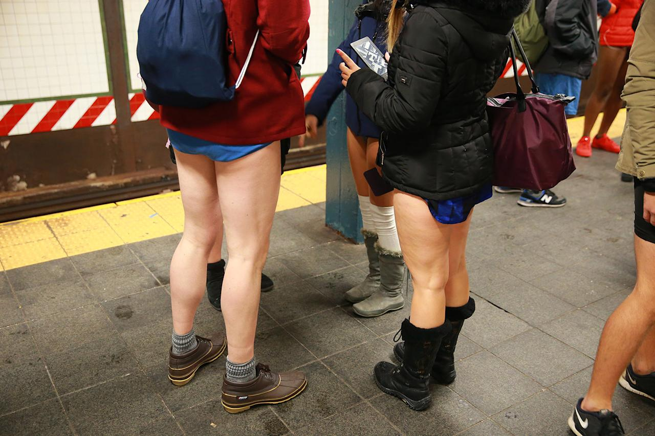 <p>Passengers wait for the subway as they take part in the No Pants Subway Ride in New York City on Jan. 8. The No Pants Subway Ride began in 2002 in New York as a stunt and has taken place in cities around the world since then. (Gordon Donovan/Yahoo News) </p>