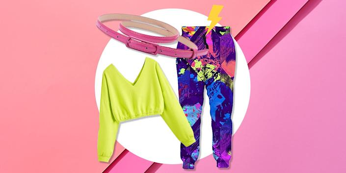 """<p>It may be 2021, but not since the actual decade has the '80s been more influential on the fitness scene. A whole new generation is <a href=""""https://www.womenshealthmag.com/fitness/a32111020/jane-fonda-workout/"""" rel=""""nofollow noopener"""" target=""""_blank"""" data-ylk=""""slk:finding inspo from old Jane Fonda workout videos"""" class=""""link rapid-noclick-resp"""">finding inspo from old Jane Fonda workout videos</a> and her outfits, whether for the gym or as a Halloween costume. ICYMI, Jane low-key ruled the era that birthed Jazzercise—images of her rocking a skinny belt wrapped around a bright leotard during her legendary workout DVDs are peak '80s exercise.</p><p>Since then, plenty of people have been #influenced by Jane's sweat style—just ask Lisa Rinna, who <a href=""""https://www.womenshealthmag.com/fitness/g32420861/how-lisa-rinna-56-stays-so-freaking-fit/"""" rel=""""nofollow noopener"""" target=""""_blank"""" data-ylk=""""slk:once released her own Jazzercise video"""" class=""""link rapid-noclick-resp"""">once released her own Jazzercise video</a> after discovering Jane's DVDs. Even <a href=""""https://www.instagram.com/p/B-gU7m_Flo_/"""" rel=""""nofollow noopener"""" target=""""_blank"""" data-ylk=""""slk:Jane herself is still into it"""" class=""""link rapid-noclick-resp"""">Jane herself is still into it</a>, which is all to say that if you're looking for something to wear for Halloween or a themed event, an '80s workout costume is a pretty genius option.</p><p>More than being on-trend, the look is super easy to pull off. Iconic styles include a fun leotard, bright tights, leg warmers, and a skinny belt. <a href=""""https://www.womenshealthmag.com/fitness/g32756700/ankle-weights/"""" rel=""""nofollow noopener"""" target=""""_blank"""" data-ylk=""""slk:Ankle weights"""" class=""""link rapid-noclick-resp"""">Ankle weights</a> and sweatbands are optional but highly encouraged when fully leaning in. Pull these all together, and hey, Jane Fonda, is that you?</p><p>Don't want to browse the internet for hours looking for the perfect look? This list has got you covered"""