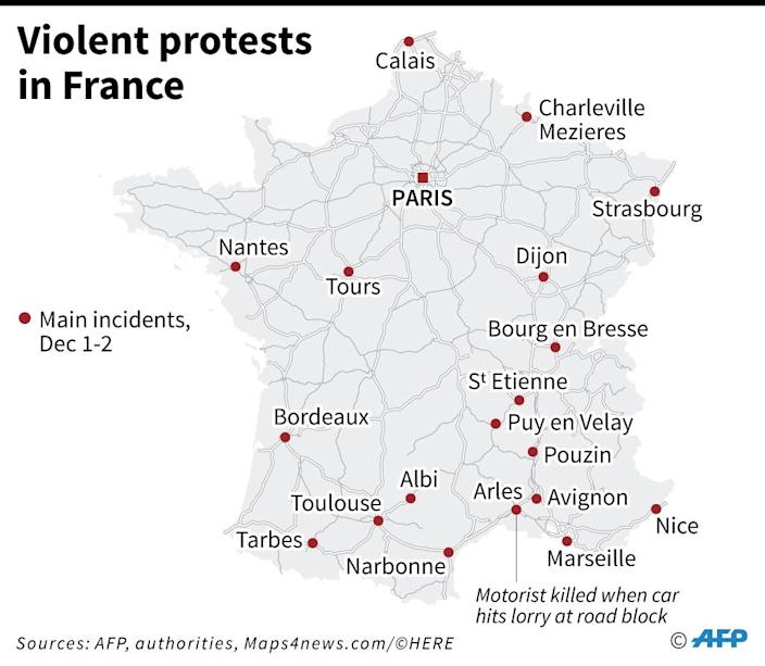 Map of France locating violence on Dec 1-2 (AFP Photo/)