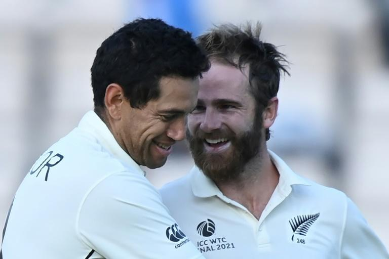 Winning partnership - New Zealand's Ross Taylor and captain Kane Williamson celebrate an eight-wicket win over India in the World Test Championship final at Southampton on Wednesday