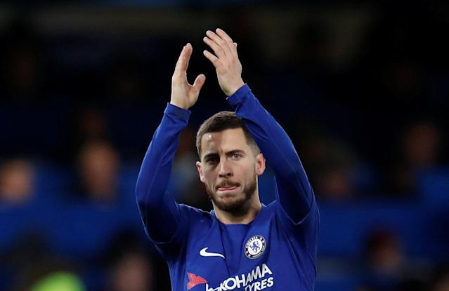 "Soccer Football - Premier League - Chelsea vs West Bromwich Albion - Stamford Bridge, London, Britain - February 12, 2018 Chelsea's Eden Hazard celebrates after the match REUTERS/Eddie Keogh EDITORIAL USE ONLY. No use with unauthorized audio, video, data, fixture lists, club/league logos or ""live"" services. Online in-match use limited to 75 images, no video emulation. No use in betting, games or single club/league/player publications. Please contact your account representative for further details."