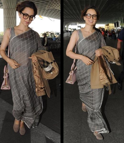 Kangana Ranaut displays her love for sarees, flaunts an ash coloured linen grid saree with ease at the airport. Take a look.