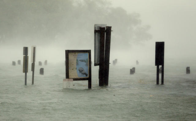 <p><strong>North Miami Beach</strong><br>Flood waters rise around signs at the Haulover Marine Center at Haulover Park as Hurricane Irma passes by, Sunday, Sept. 10, 2017, in North Miami Beach, Fla. (AP Photo/Wilfredo Lee) </p>