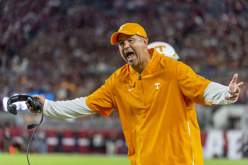 Tennessee head coach Jeremy Pruitt yells at the officials during the first half of an NCAA college football game against Alabama, Saturday, Oct. 19, 2019, in Tuscaloosa, Ala. (AP Photo/Vasha Hunt)