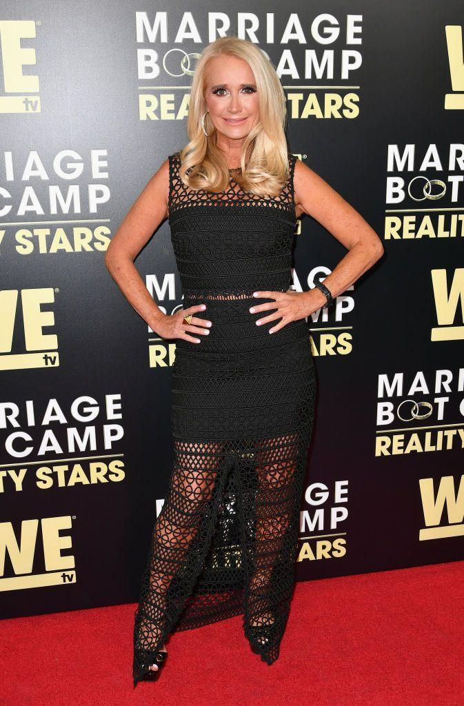 """<p>Kim Richards' story on the <em>Real Housewives of Beverly Hills</em> has been tough to witness over the years. Her battle with alcoholism and personal trauma fueled much of the <em>Beverly Hills</em> storyline for the franchise's first five seasons (her sister and co-star, Kyle Richards, famously called her out as an alcoholic on camera in the season 1 finale). She officially lost her spot on the cast in 2015 after a series of <a href=""""https://www.thedailybeast.com/the-fall-of-kim-richards-star-of-real-housewives-of-beverly-hills"""" rel=""""nofollow noopener"""" target=""""_blank"""" data-ylk=""""slk:personal struggles"""" class=""""link rapid-noclick-resp"""">personal struggles </a> and failing to maintain her sobriety. Thankfully, Kim now appears regularly on the show as a Friend and seems to be in a much better place. </p>"""
