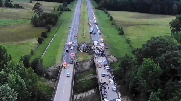 PHOTO: Drone image shows aftermath of a deadly crash of 18 vehicles on interstate 65 in Butler County, Alabama, June 20, 2021. (Jason Johnson/EyePress via Newscom)