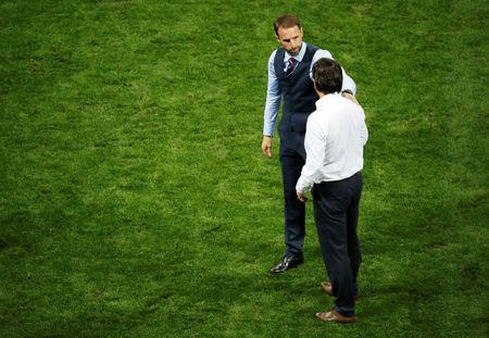 Soccer Football - World Cup - Semi Final - Croatia v England - Luzhniki Stadium, Moscow, Russia - July 11, 2018 England manager Gareth Southgate and Croatia coach Zlatko Dalic after the match REUTERS/Christian Hartmann