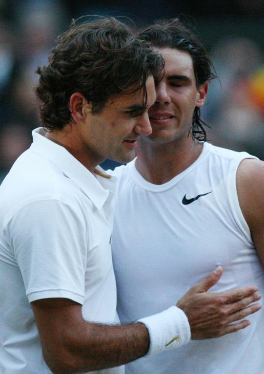 Epic: Rafael Nadal is congratulated by Federer after the 2008 final