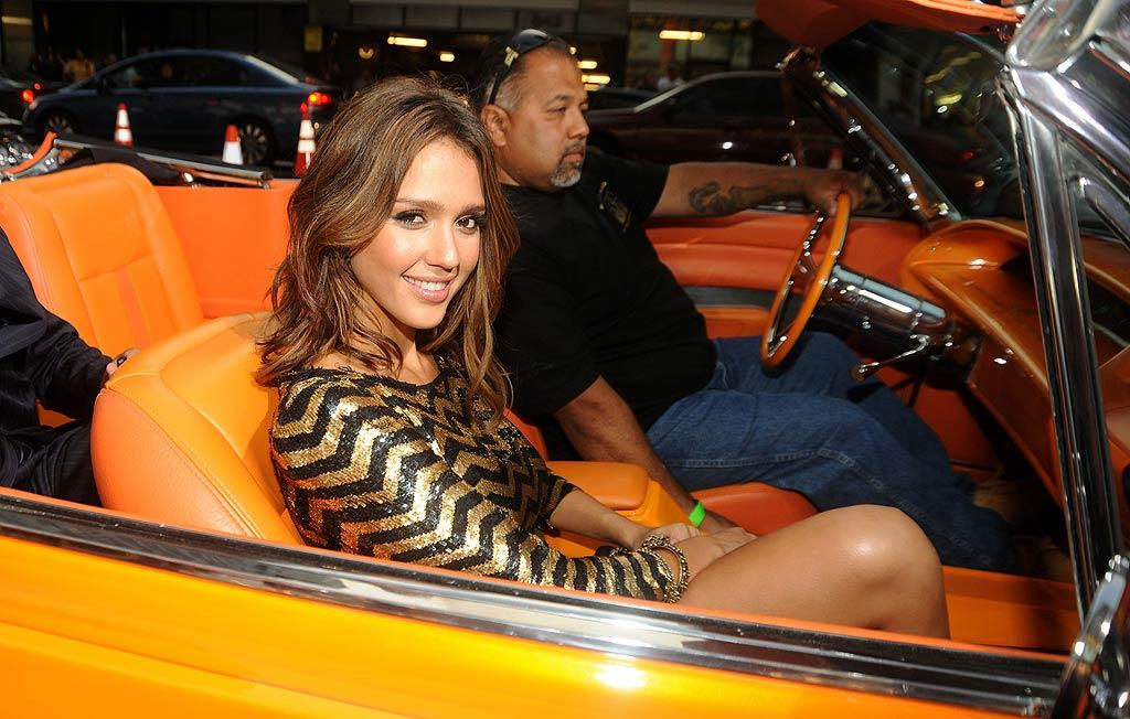 "Jessica Alba was smokin' hot at the Los Angeles premiere of her new film, ""Machete,"" Wednesday. Sporting a sequined Balmain mini, the star arrived in style at the event in a bright orange lowrider. Jeff Kravitz/<a href=""http://www.filmmagic.com/"" target=""new"">FilmMagic.com</a> - August 25, 2010"
